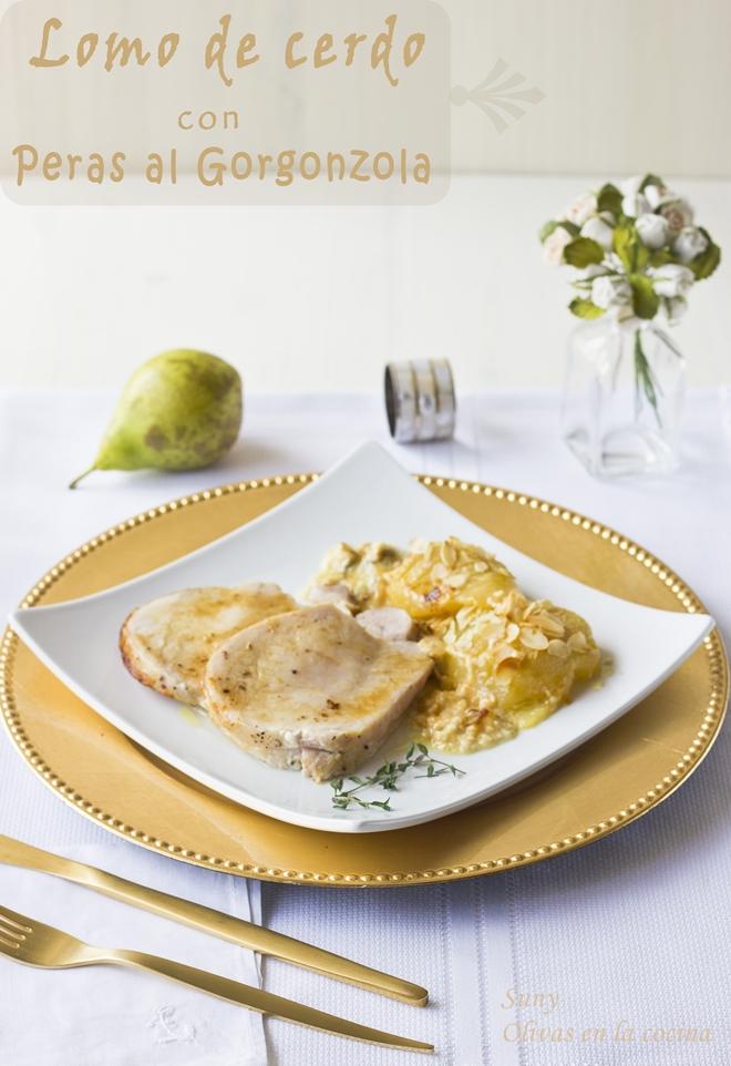 Lomo de cerdo con peras al Gorgonzola
