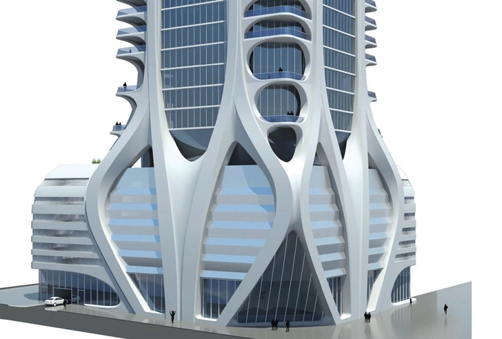 Street level of One Thousand Museum by Zaha Hadid Architects