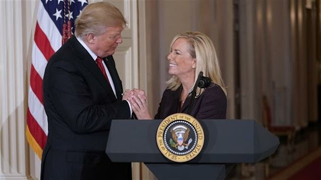 Secretary of the United States Department of Homeland Security Kirstjen Nielsen leaves after talking with US President Donald Trump