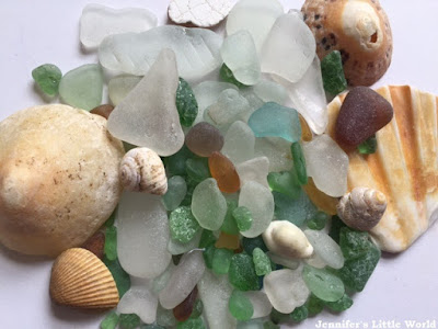 A pile of shells and sea glass