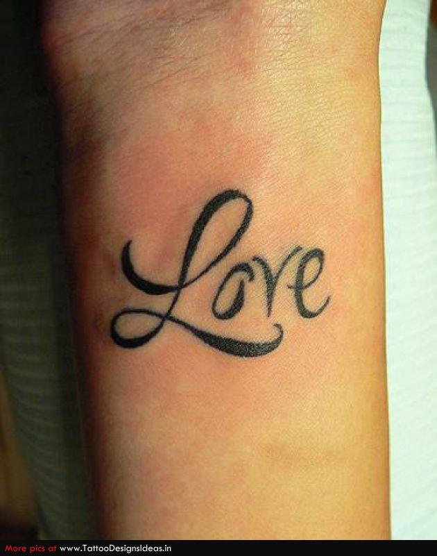 t1 love text wrist tattoo