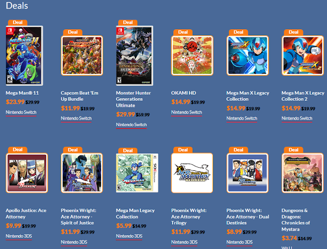 CAPCOM Publisher Sale May 2019 Nintendo Switch 3DS Wii U discounts deals Mega Man Ace Attorney