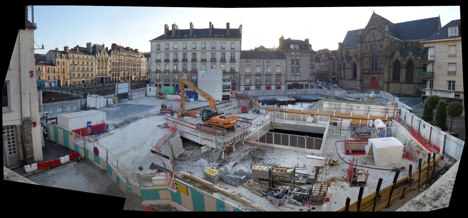 Le chantier du métro Place Saint-Germain le samedi 15 août 2015