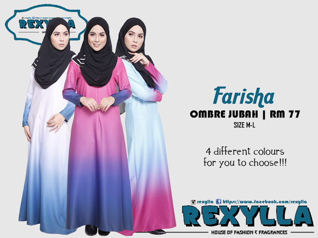 rexylla, ombre, ombre jubah, farisha collection