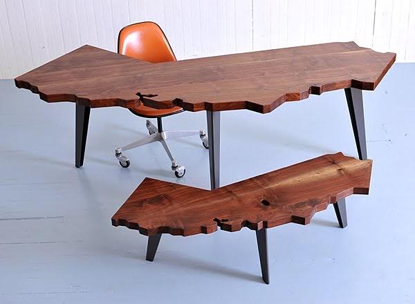 california shaped desks and coffee