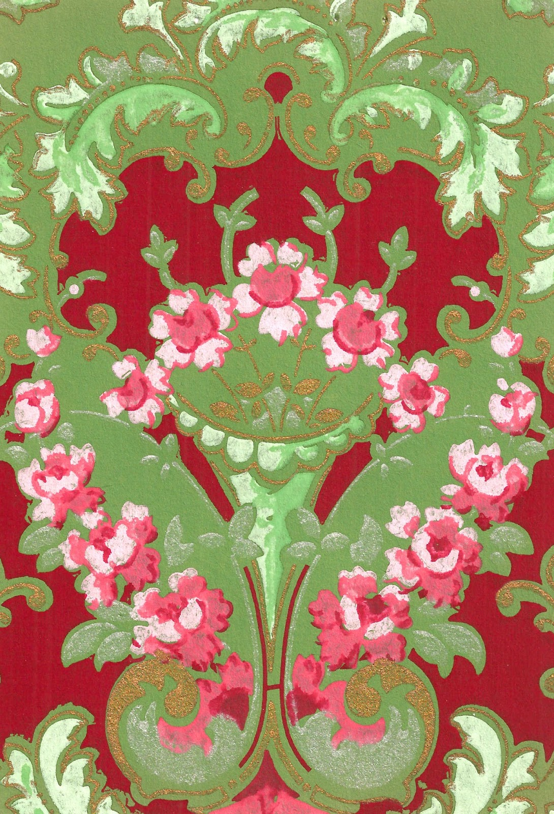 Antique Images Antique Victorian Wallpaper Papercraft Scrapbook Red