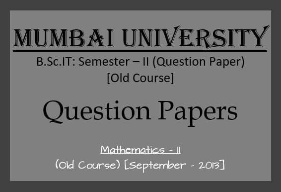 Mathematics – II (September