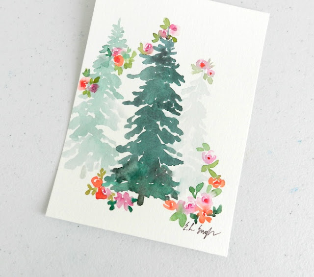 original watercolor christmas trees with flowers