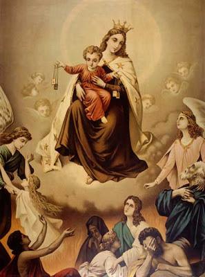 La Virgen del Carmen y el Niño con el Escapulario liberando Almas del Purgatorio
