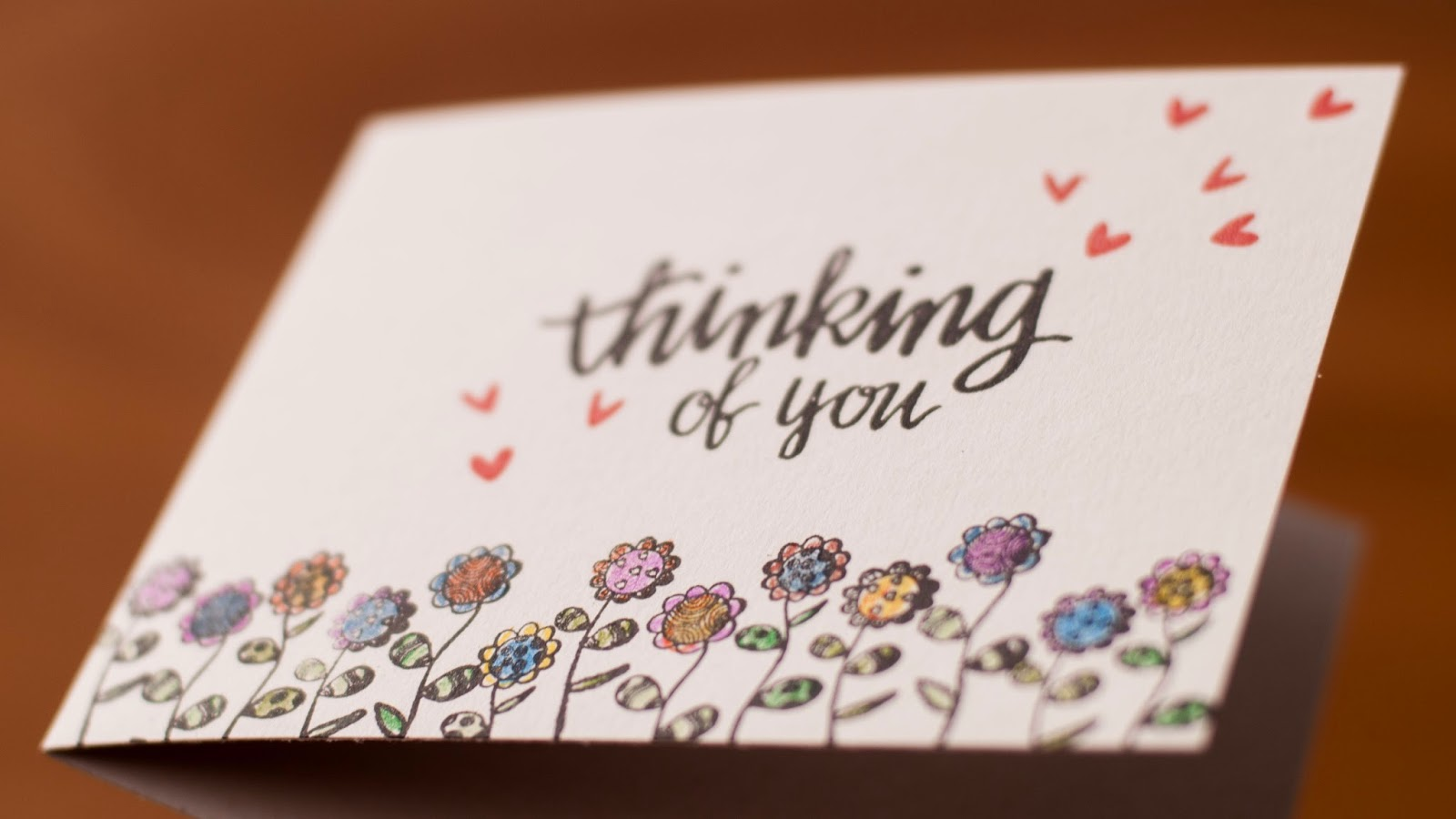 valentine card #2 - thinking of you friendship card spectrum noir colored pencils