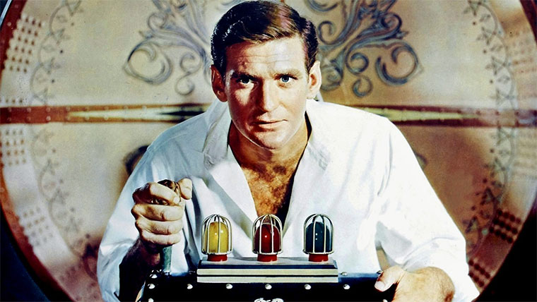 Rod Taylor als H.G. Wells in DIE ZEITMASCHINE (The Time Machine, 1960). Quelle: Warner