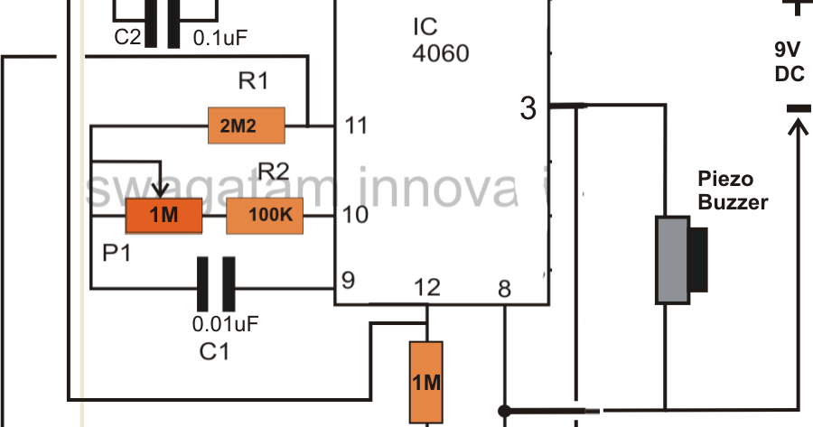 simple timer circuit using ic 4060 electronic circuit projects