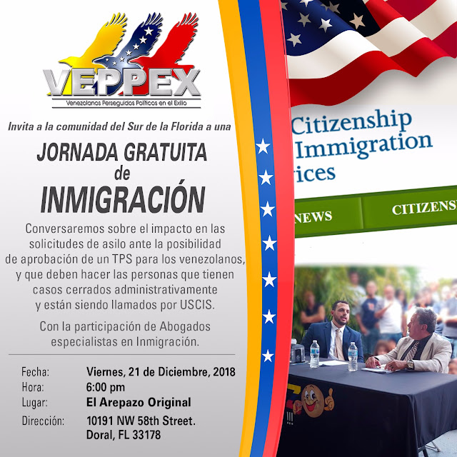VEPPEX TE INVITA A JORNADA DE GRATUITA DE INMIGRACION VIERNES 21 DE DICIEMBRE DEL 2018