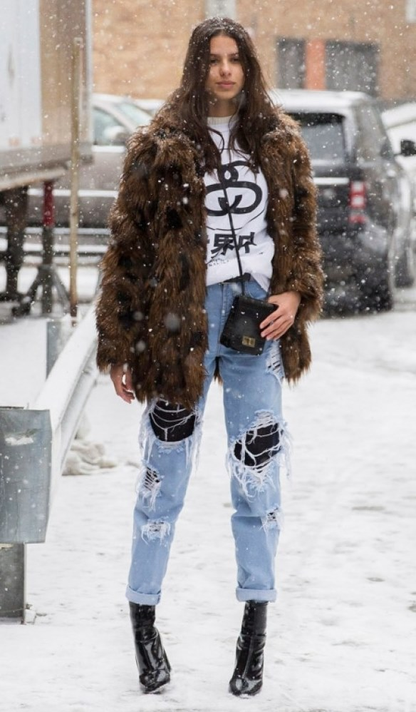 Street style obsession / fur coat + crossbody bag + sweater + distressed jeans + boots