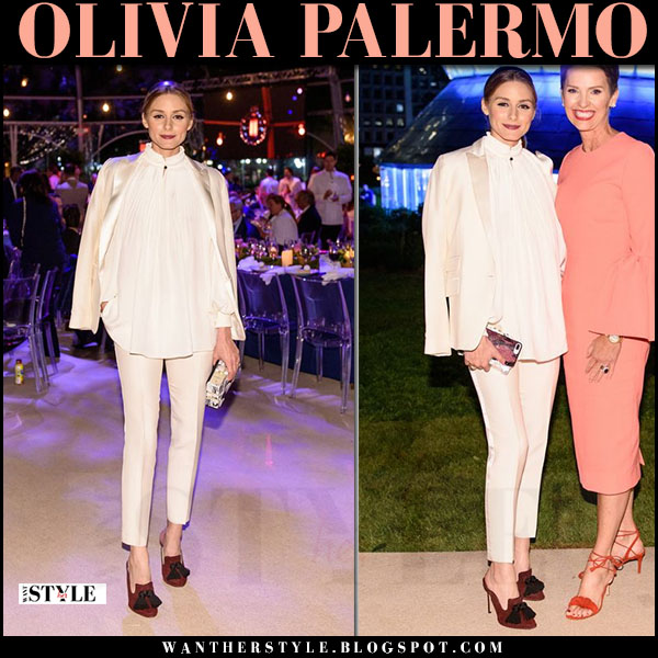 Olivia Palermo in champagne blazer and pleated cream tibi blouse and burgundy mules sanayi 313 garcia what she wore june 10 2017