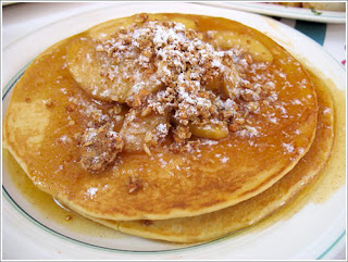 Apple Pancakes- Carnation Cafe The Recipes Of Disney Ingredients 3 TBS butter 3 eggs 2/3 cup of milk 3/4 cup flour 1/2 tsp vanilla extract 1 cup of cooked apples 3 TBS brown sugar 1 TBS cinnamon Chopped pecan