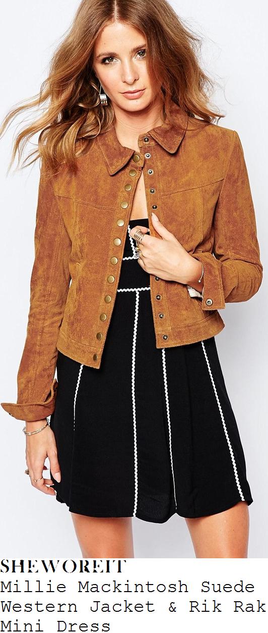 millie-mackintosh-tan-suede-wester-jacket-and-rik-rak-black-and-white-mini-dress