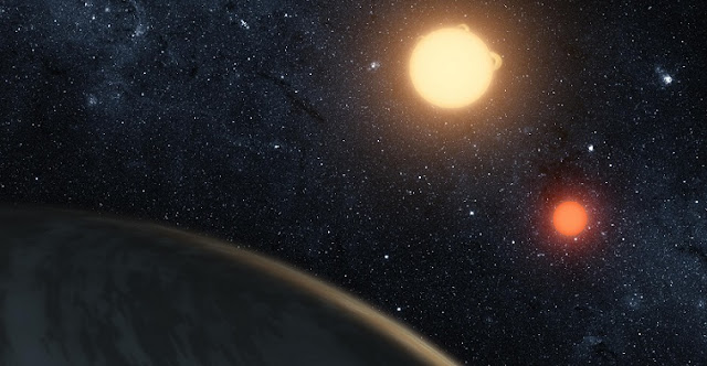 Artist's impression of Kepler-16b, discovered by NASA's Kepler mission and the first confirmed circumbinary planet. It is a gas giant that orbits close to the edge of its binary system's habitable zone. Credit: T. Pyle / NASA / JPL-Caltech.