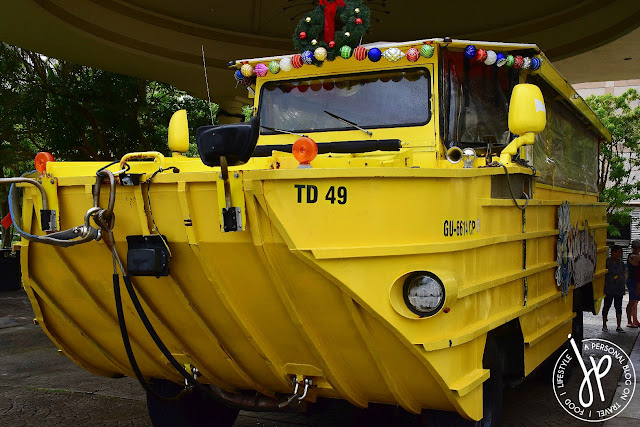 yellow amphibious vehicle