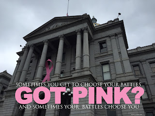 Got Pink? Denver State Capital proudly displaying a Pink Breast Cancer Awareness Ribbon