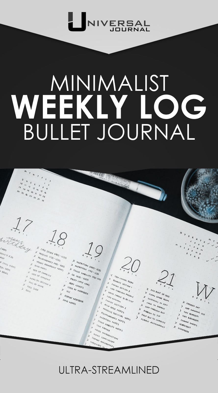 bullet journal streamlined weekly log minimalist