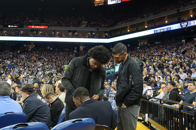 Michael Crabtree spotted at the Warriors vs. Mavericks game.