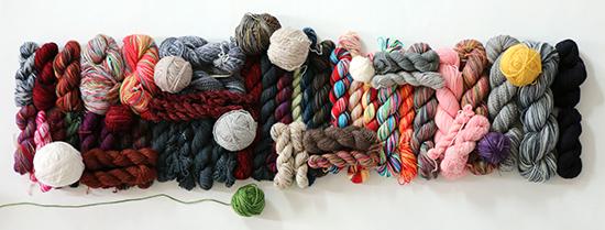 Collection of Partial Skeins of Wool Sock Weight Yarn