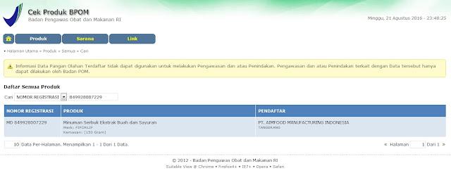Fiforlif terdaftar resmi di BPOM