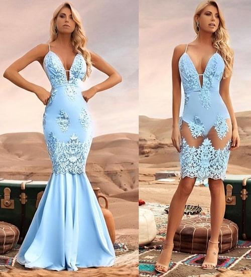vestido de festa azul claro 2 em 1
