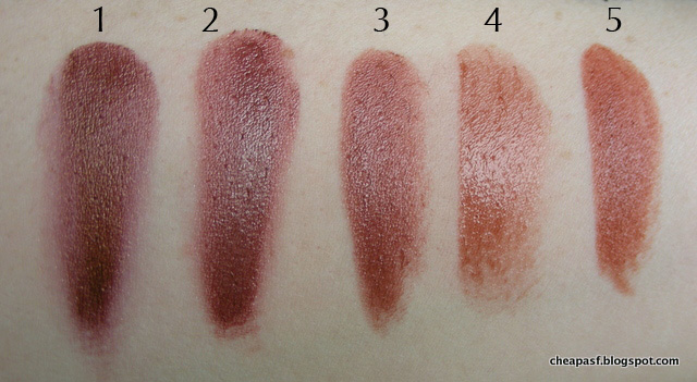 Swatches of 1. Urban Decay Vice Lipstick in Conspiracy; 2. Urban Decay Amulet; 3. Mirenesse Glossy Kiss in Angel Kiss; 4. Revlon Lip Butter in Fig Jam; and 5. Maybelline Maple Kiss.