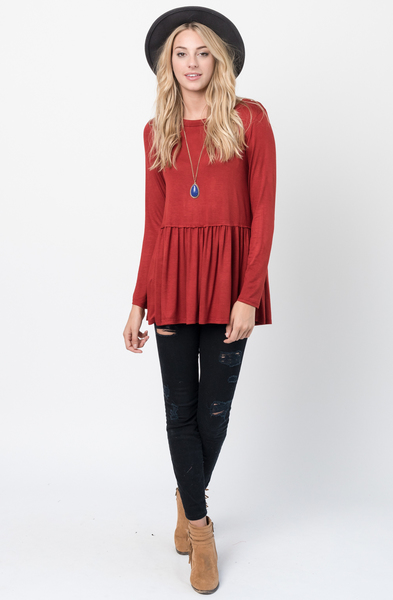 Buy Now Rust Ruffled Long Sleeve Tunic Online $34 -@caralase.com