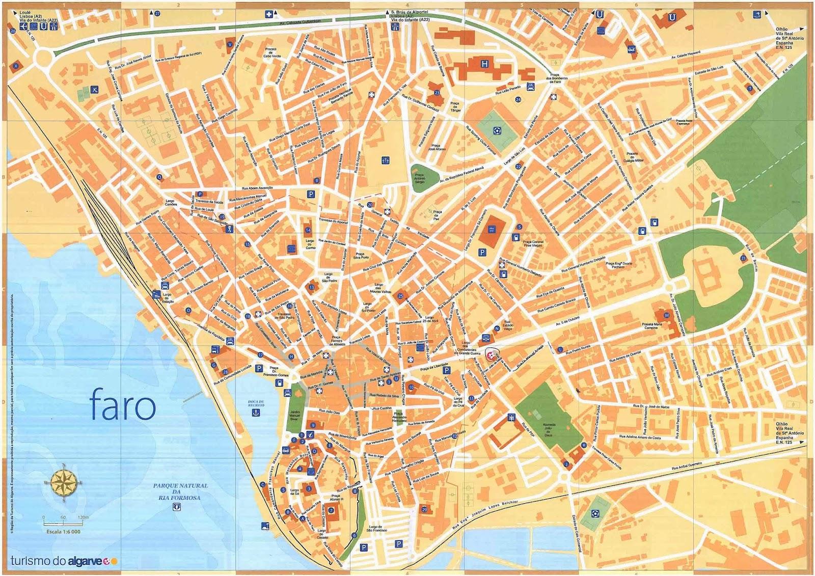 mapa de algarve portugal Mapas de Faro   Portugal | MapasBlog mapa de algarve portugal