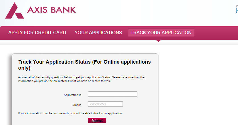axis bank credit card application track