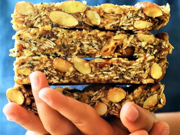 Only 7 ingredients  & 15 mins Granola Bars | Vegan Granola Bars | Gluten Free Granola Bars | No Bake Breakfast Bars | Oats Dates Granola Bars | Granola Bars | Step by step method of Preparing Granola Bars.