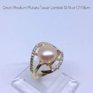 Cincin Perhiasan Rhodium Mutiara AIr Tawar