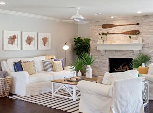 Ranch Living Room with a Coastal Theme Makeover by the Gaines