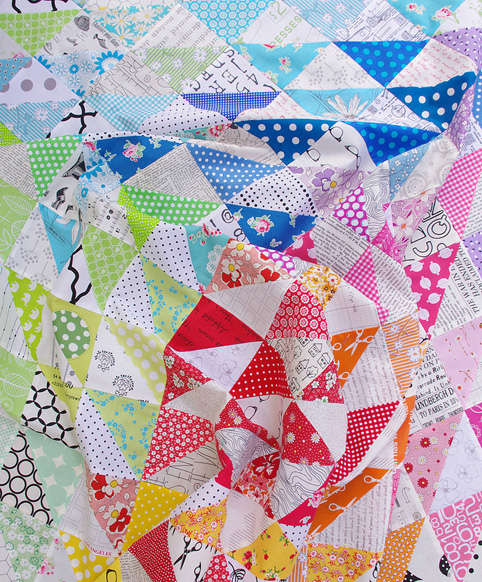 Rainbow Half Square Triangle Quilt - Red Pepper Quilts