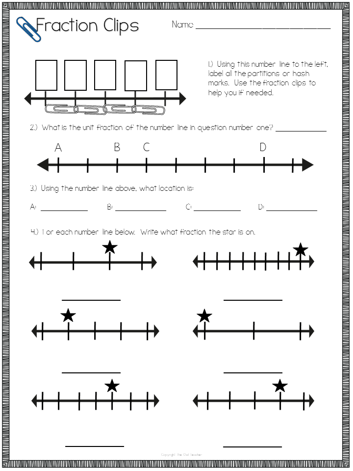 Teaching Number Line Fractions with a freebie The Owl Teacher – Identify Fractions on a Number Line Worksheet