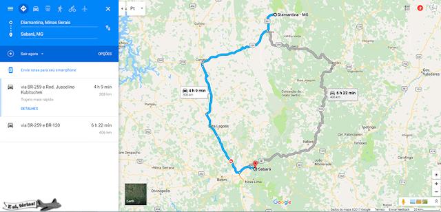 Rota Google Maps entre Diamantina e Sabará.