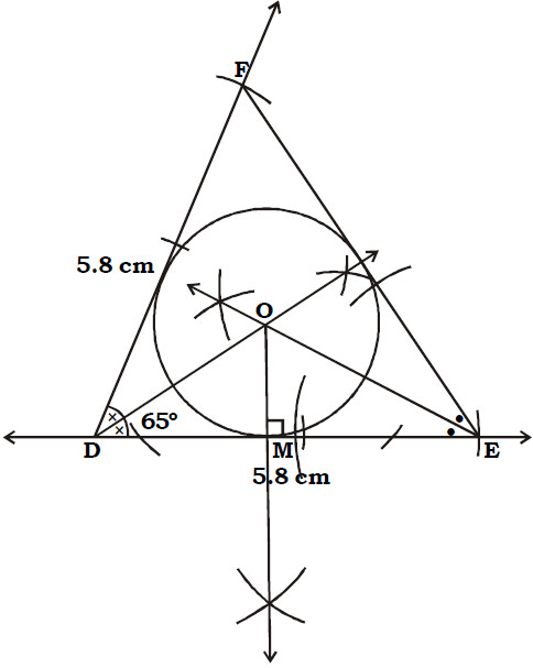 OMTEX CLASSES: 7. Construct the incircle of ∆DEF in which