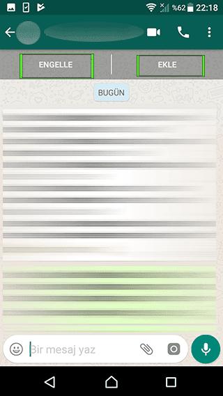 whatsapp engelle ve ekle butonu
