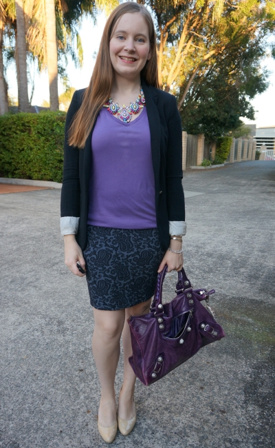 purple tee with statement necklace jacquard pencil skirt jersey blazer and Bal work | awayfromblue