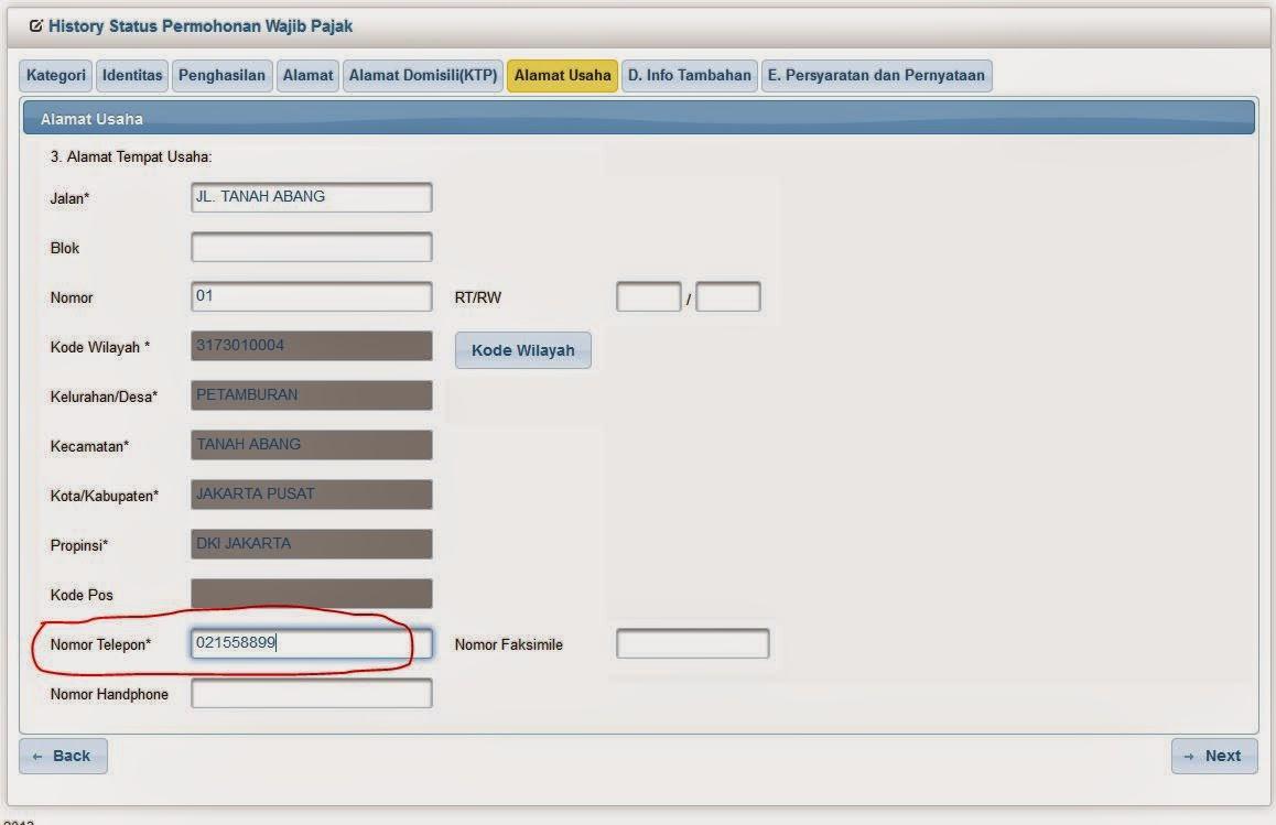 pajak efiling cara isi formulir alamat tempat usaha