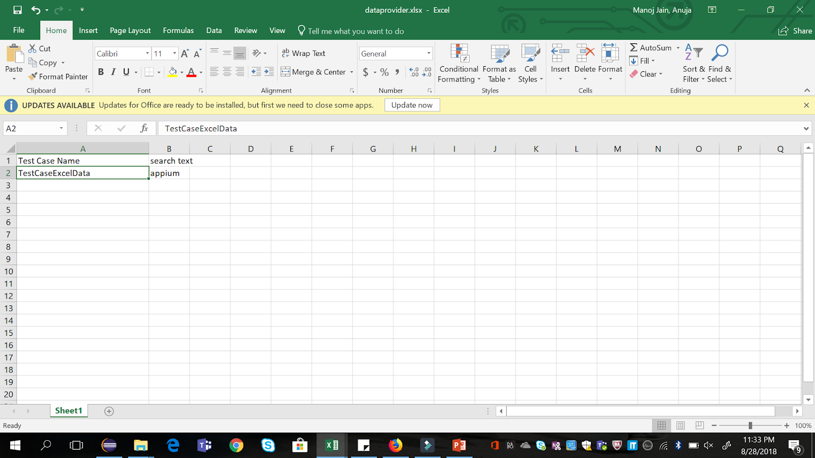 QA Automated: TestNG Data Provider with Excel
