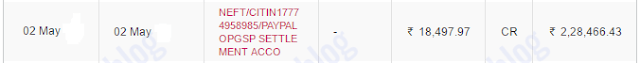 PayPal funds transfer - Indian bank account statement
