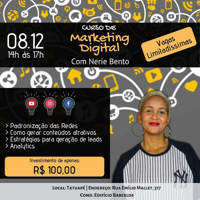 Curso de Marketing Digital para artistas, microempreendedores, produtores culturais e influencers.