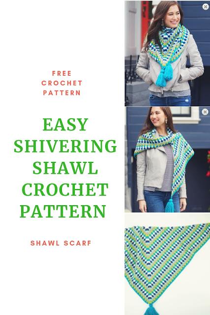 Free Crochet Shivering Chic Shawl Scarf Crochet Pattern