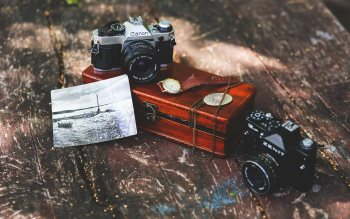 Wallpaper: Canon and Zenit cameras