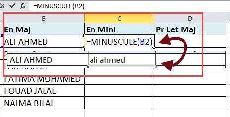 استعمال الدالة Minuscule