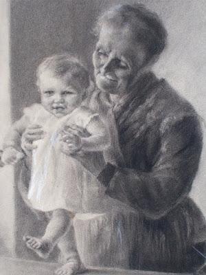 Scena di vita familiare - disegno a carboncino - arte - secolo XIX - annunci